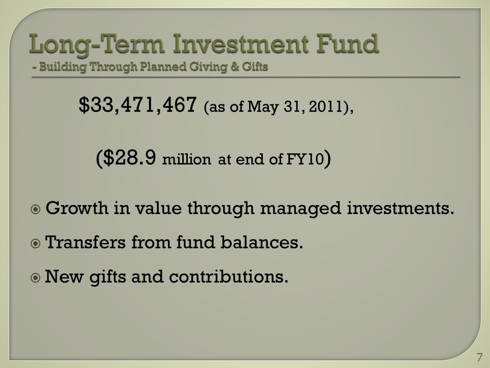 $33,471,467 (as of May 31, 2011), ($28.9 million at end of FY10 )  Growth in value through managed investments.