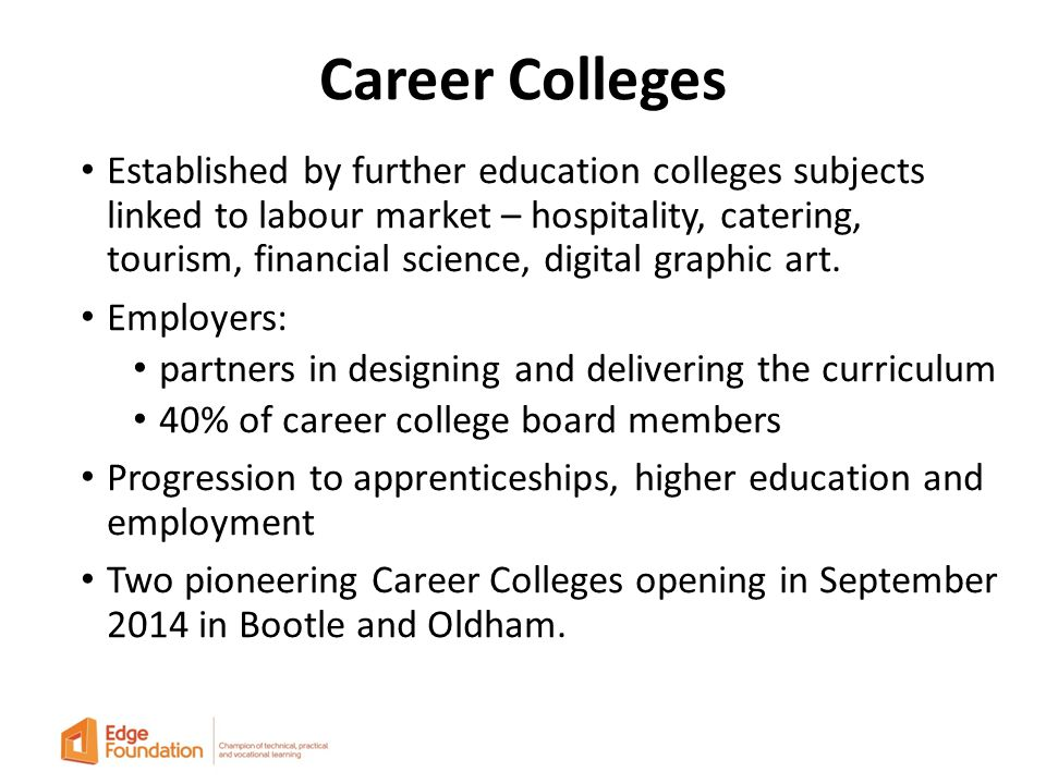Career Colleges Established by further education colleges subjects linked to labour market – hospitality, catering, tourism, financial science, digital graphic art.