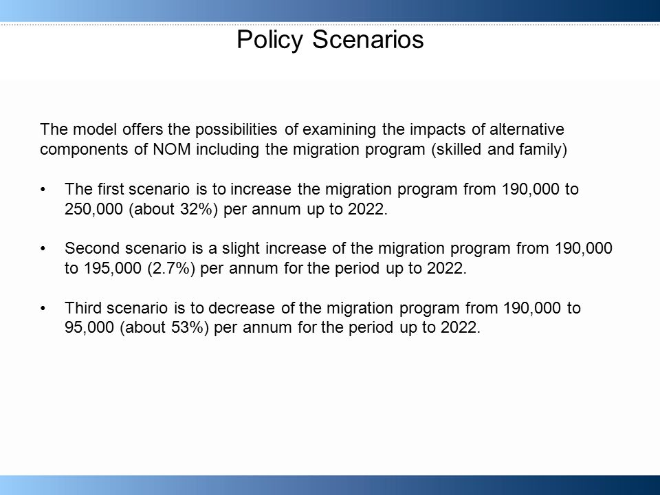 Policy Scenarios The model offers the possibilities of examining the impacts of alternative components of NOM including the migration program (skilled and family) The first scenario is to increase the migration program from 190,000 to 250,000 (about 32%) per annum up to 2022.