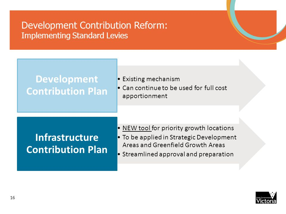 Development Contribution Reform: Implementing Standard Levies Existing mechanism Can continue to be used for full cost apportionment Development Contribution Plan NEW tool for priority growth locations To be applied in Strategic Development Areas and Greenfield Growth Areas Streamlined approval and preparation Infrastructure Contribution Plan 16