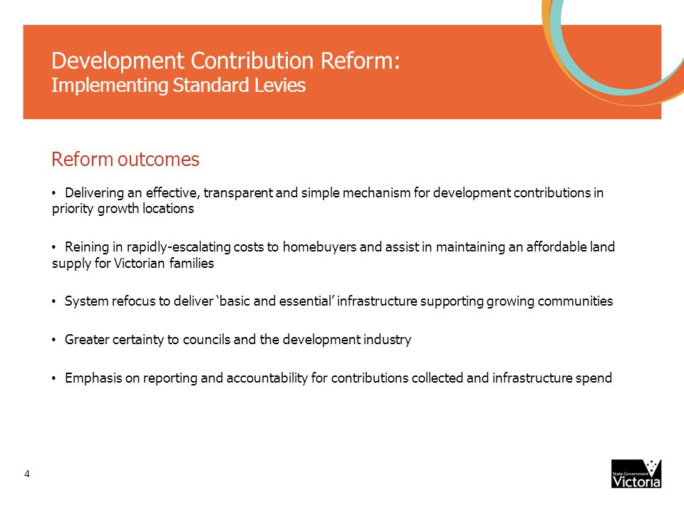 Development Contribution Reform: Implementing Standard Levies 5 Biggest reform since introduction in 1990s