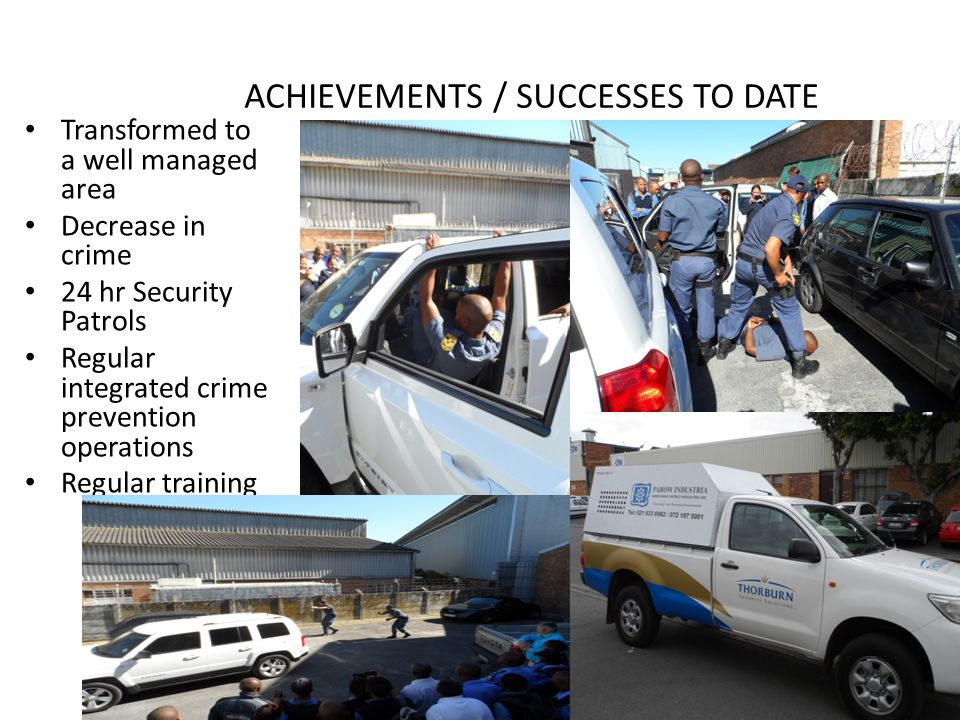 ACHIEVEMENTS / SUCCESSES TO DATE Transformed to a well managed area Decrease in crime 24 hr Security Patrols Regular integrated crime prevention operations Regular training