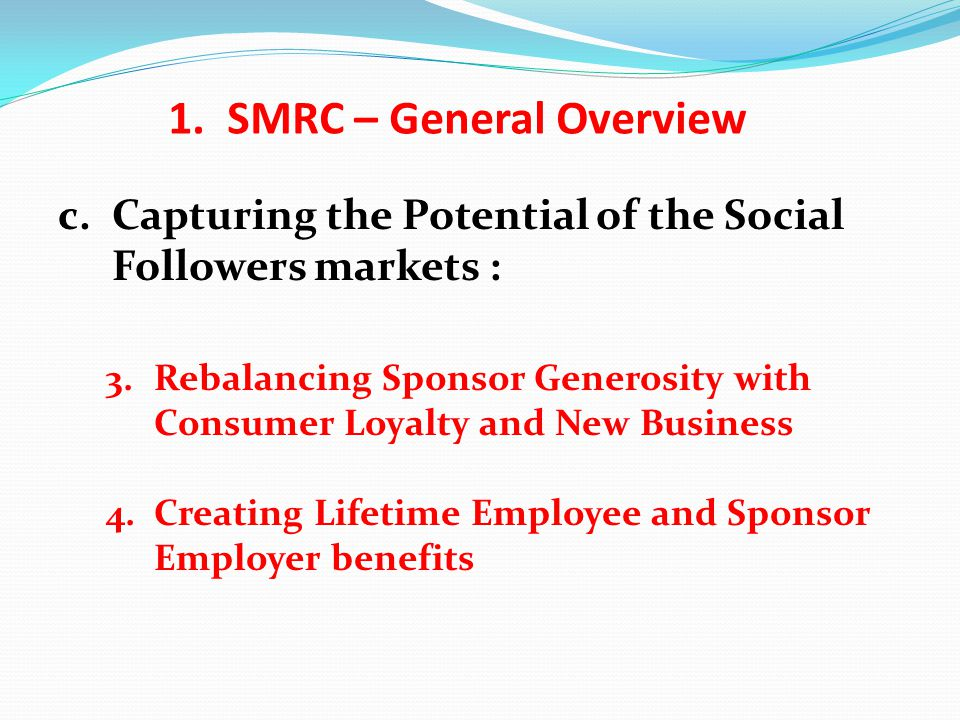 c.Capturing the Potential of the Social Followers markets : 3.Rebalancing Sponsor Generosity with Consumer Loyalty and New Business 4.Creating Lifetime Employee and Sponsor Employer benefits 1.