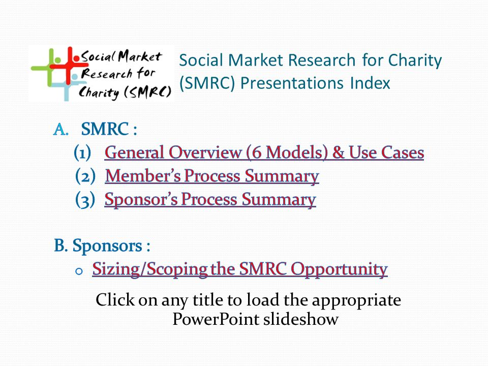 Social Market Research for Charity (SMRC) Presentations Index