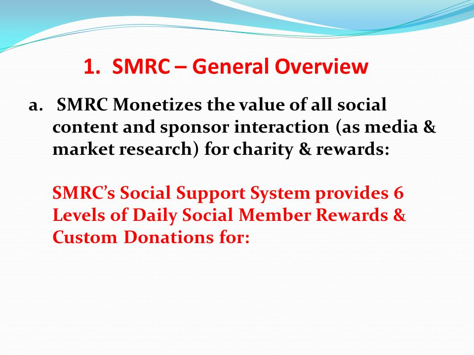 a. SMRC Monetizes the value of all social content and sponsor interaction (as media & market research) for charity & rewards: SMRC's Social Support Sy