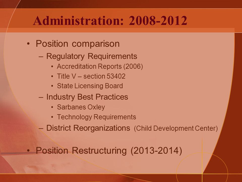 Administration: 2008-2012 Position comparison –Regulatory Requirements Accreditation Reports (2006) Title V – section 53402 State Licensing Board –Industry Best Practices Sarbanes Oxley Technology Requirements –District Reorganizations (Child Development Center) Position Restructuring (2013-2014)