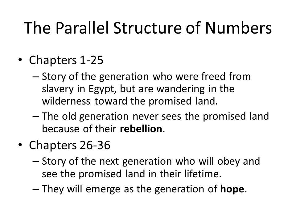 Parallelism in Numbers Numbers 1-25 – Gen.of RebellionNumbers 26-36 – Gen.