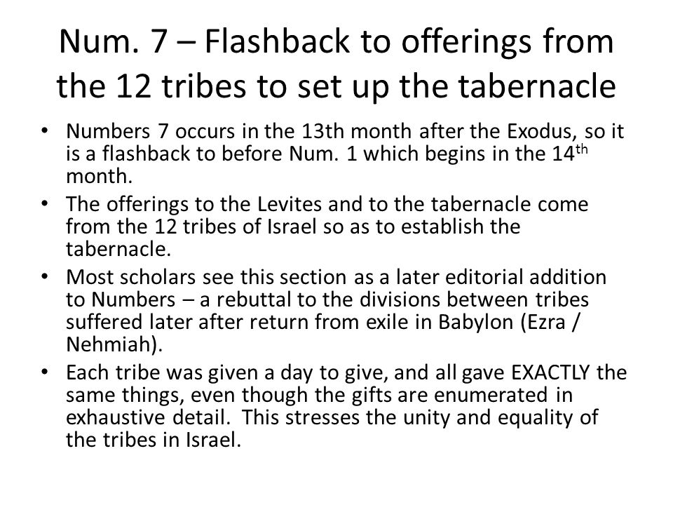 Num.7 Flashback makes a point at this stage of the story An analogy: A church planning meeting.