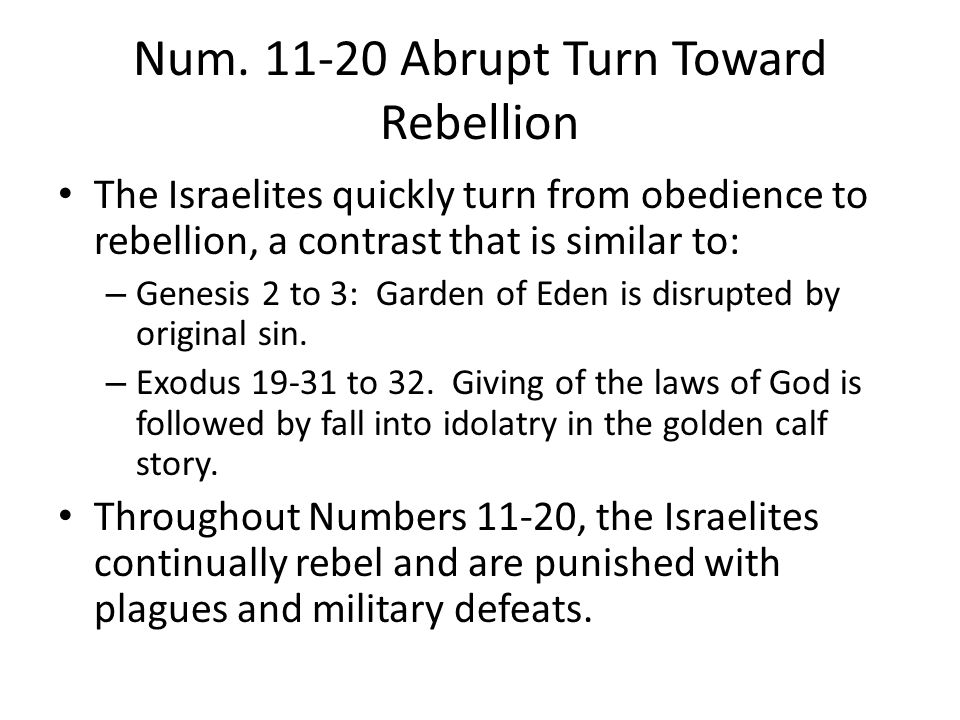Overview of Numbers 11-20 11: General rebellion 12: Rebellion by two leaders, Aaron and Miriam 13-14: Spy mission into the promised land defines death of the old wilderness generation and the birth of the new generation.