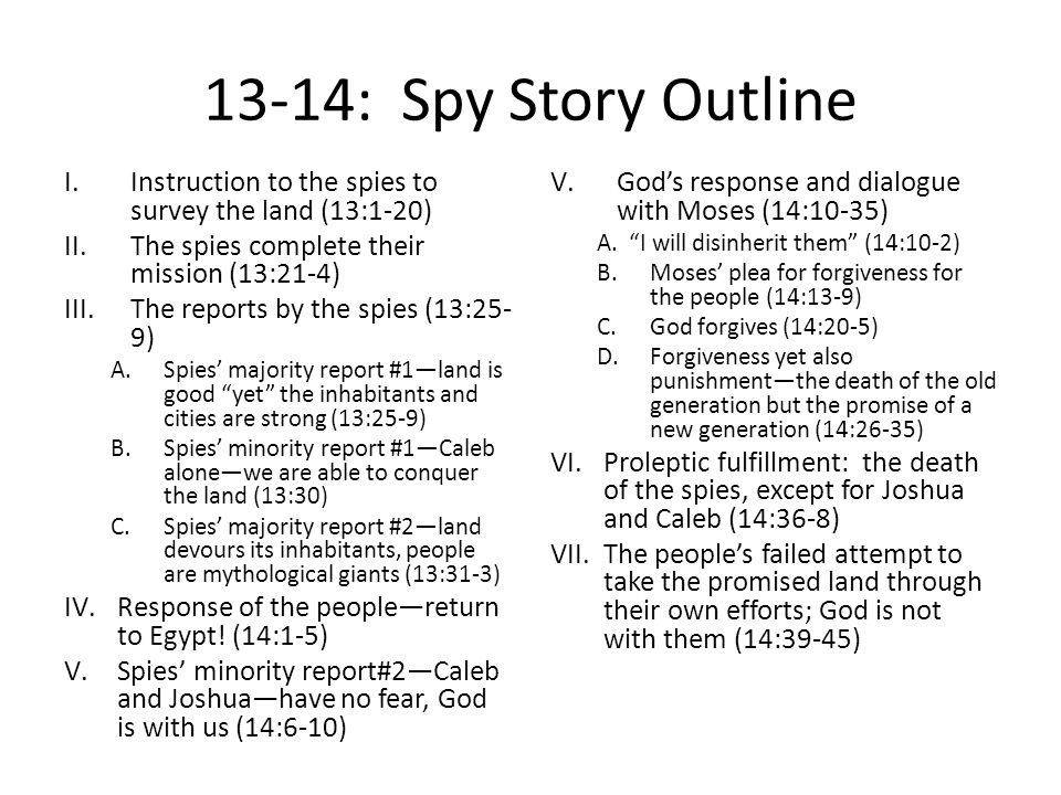 Theology of the Spy Story 1.The nature of sin: Numbers 14: – Spurning and despising God's free gift of the promised land.
