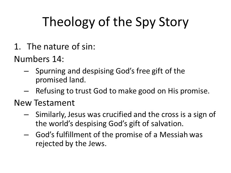 Theology of the Spy Story 2.The nature of forgiveness: Numbers 14 – God forgives through the intercession of Moses – Moses denied himself the glory of becoming a great nation to appeal to God for forgiveness New Testament – Rom 8: Paul writes that nothing in all creation will be able to separate us from the love of God. – Like Moses, Jesus denied himself and his own glory for the sake of others through his suffering and death (Phil.