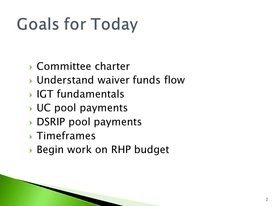  Committee charter  Understand waiver funds flow  IGT fundamentals  UC pool payments  DSRIP pool payments  Timeframes  Begin work on RHP budget 2