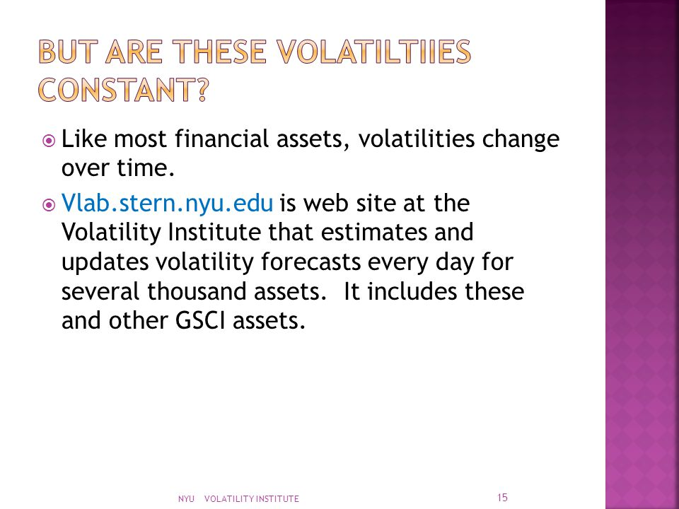  Like most financial assets, volatilities change over time.  Vlab.stern.nyu.edu is web site at the Volatility Institute that estimates and updates v