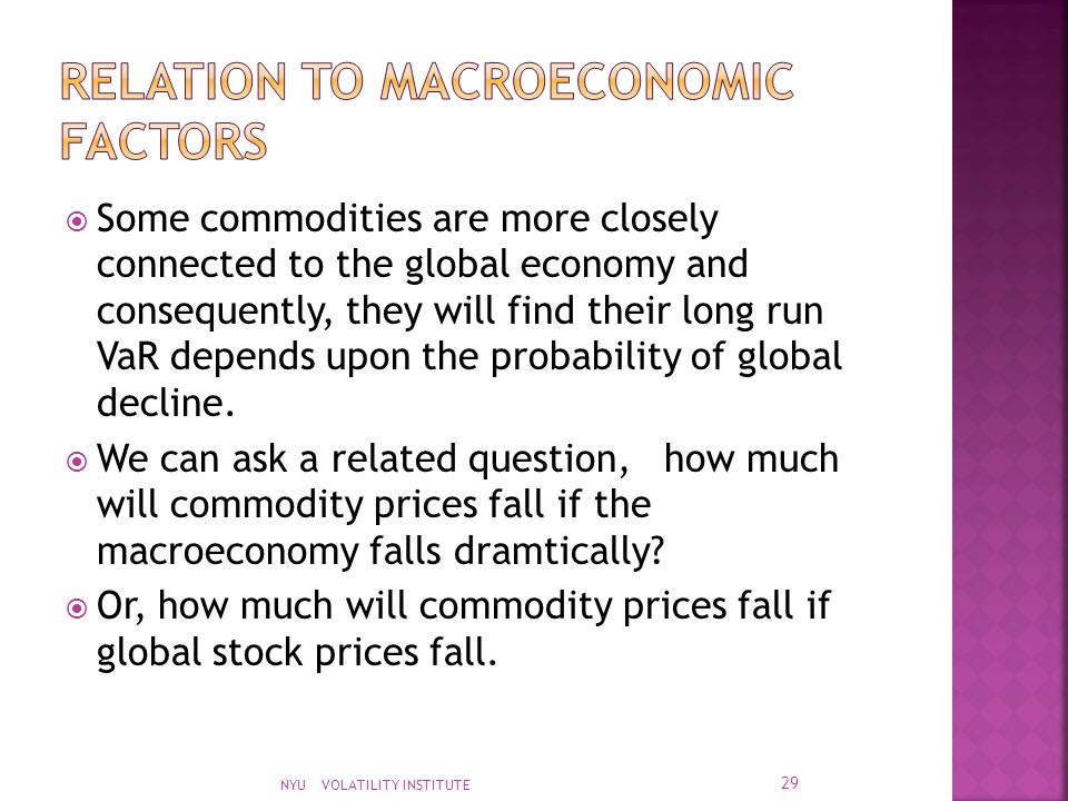  Some commodities are more closely connected to the global economy and consequently, they will find their long run VaR depends upon the probability of global decline.