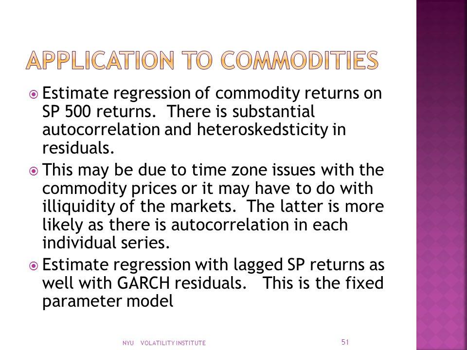  Estimate regression of commodity returns on SP 500 returns.