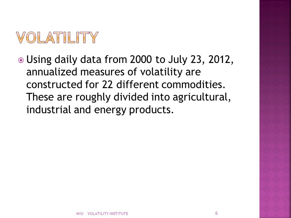  Using daily data from 2000 to July 23, 2012, annualized measures of volatility are constructed for 22 different commodities. These are roughly divid