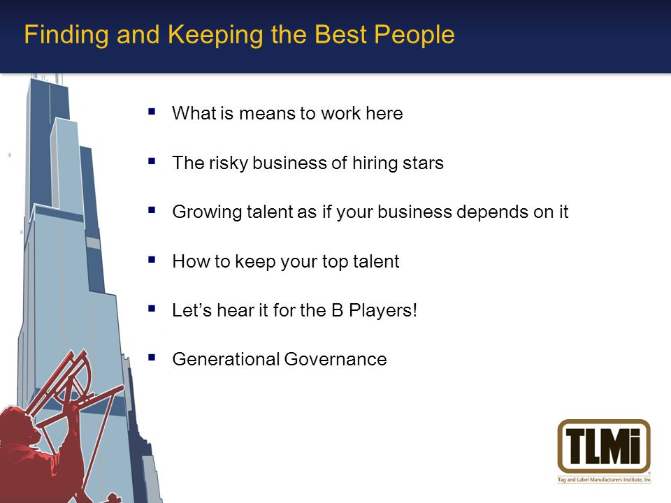 Finding and Keeping the Best People  What is means to work here  The risky business of hiring stars  Growing talent as if your business depends on it  How to keep your top talent  Let's hear it for the B Players.