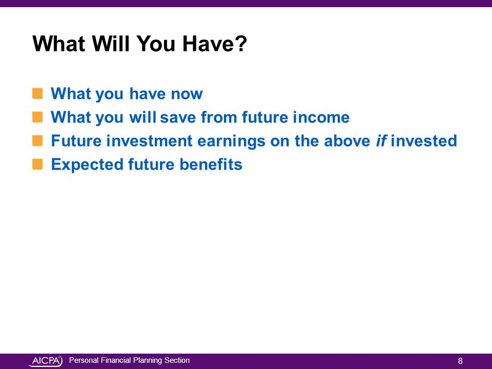 Personal Financial Planning Section What Will You Have? What you have now What you will save from future income Future investment earnings on the abov