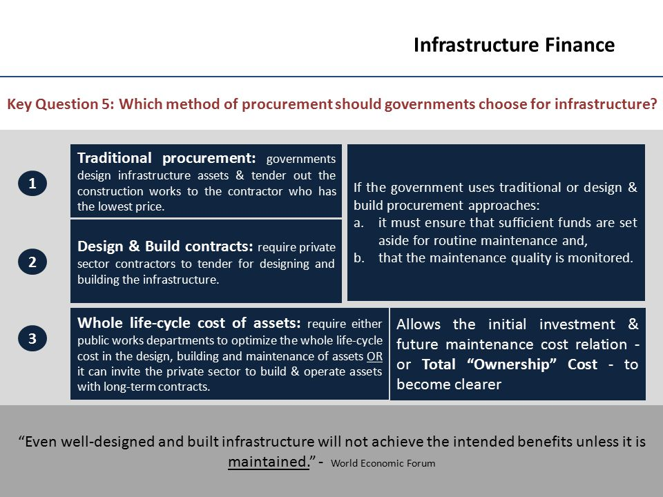 8 Infrastructure Finance Key Question 5: Which method of procurement should governments choose for infrastructure? Traditional procurement: government