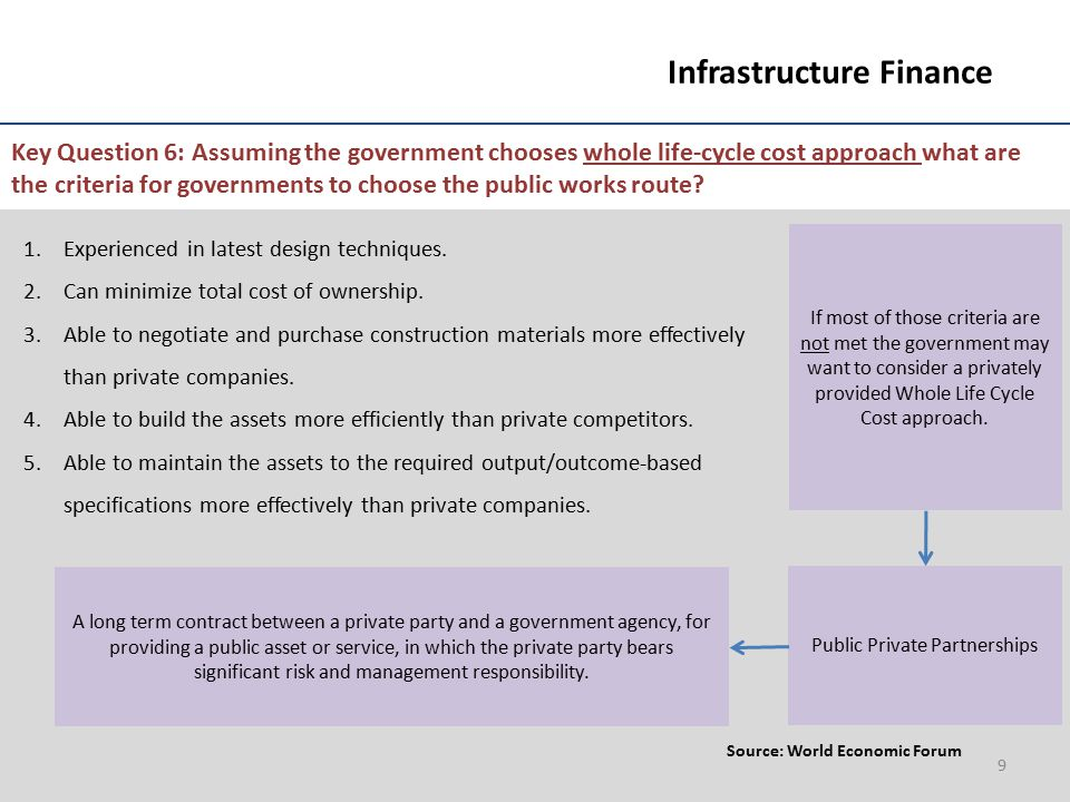 9 Infrastructure Finance Key Question 6: Assuming the government chooses whole life-cycle cost approach what are the criteria for governments to choos