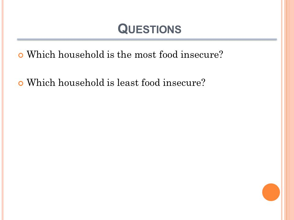 Q UESTIONS Which household is the most food insecure? Which household is least food insecure?