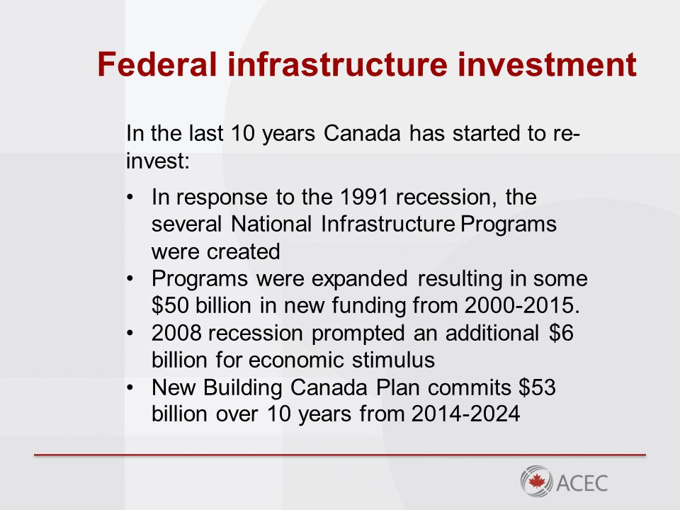 Federal infrastructure investment In the last 10 years Canada has started to re- invest: In response to the 1991 recession, the several National Infrastructure Programs were created Programs were expanded resulting in some $50 billion in new funding from 2000-2015.