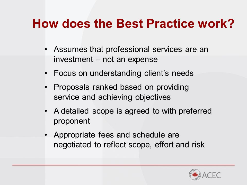 How does the Best Practice work.