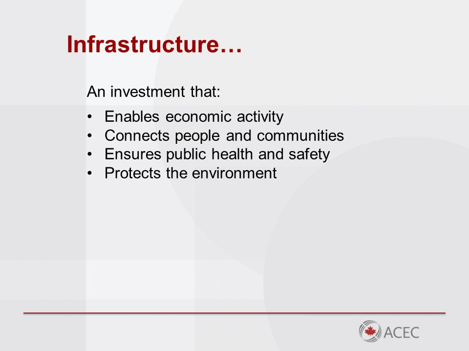 Project life-cycle costs Infrastructure is a long-term investment Operational life can span decades Operations & maintenance represents 80%- 95% of total infrastructure costs Initial capital construction costs represent only 6%-18% of the cost Engineering & design fees typically represents only 1%-2% over the lifecycle cost of a project
