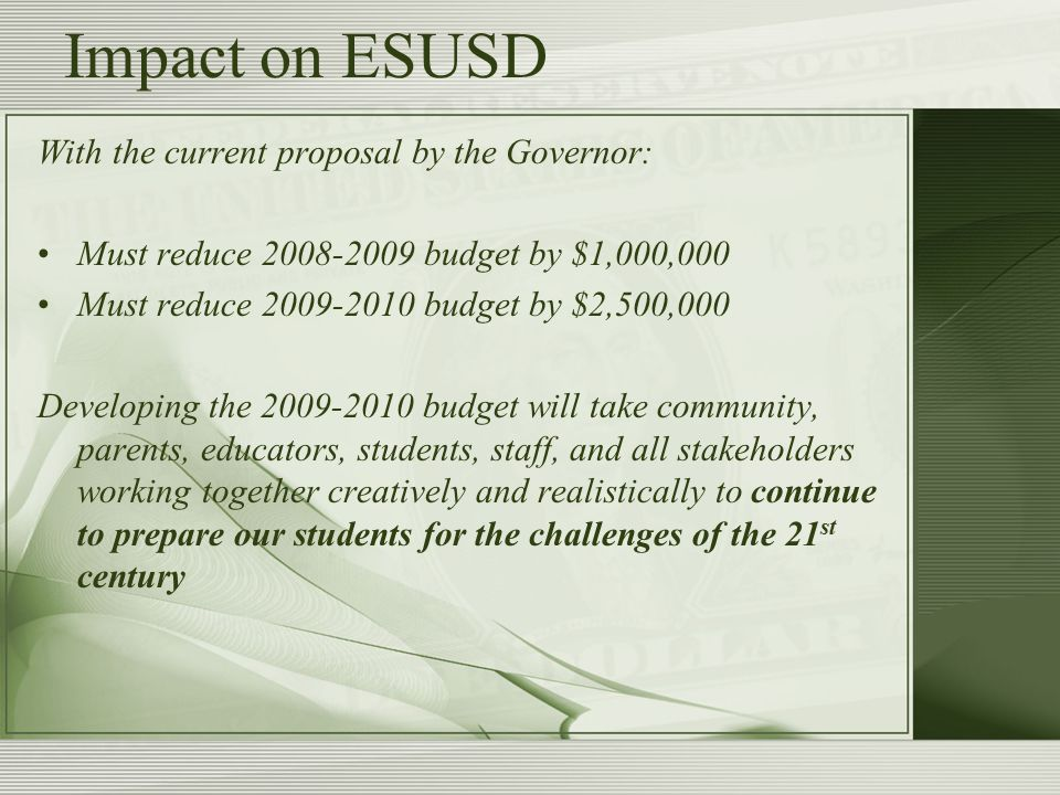 Impact on ESUSD With the current proposal by the Governor: Must reduce 2008-2009 budget by $1,000,000 Must reduce 2009-2010 budget by $2,500,000 Developing the 2009-2010 budget will take community, parents, educators, students, staff, and all stakeholders working together creatively and realistically to continue to prepare our students for the challenges of the 21 st century