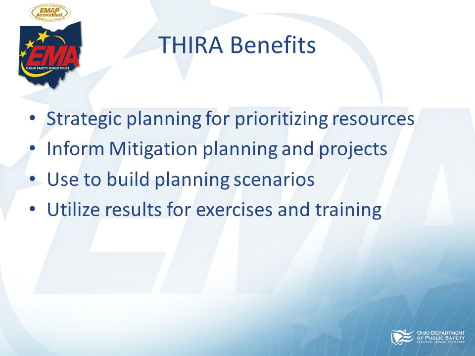 THIRA Benefits Strategic planning for prioritizing resources Inform Mitigation planning and projects Use to build planning scenarios Utilize results for exercises and training