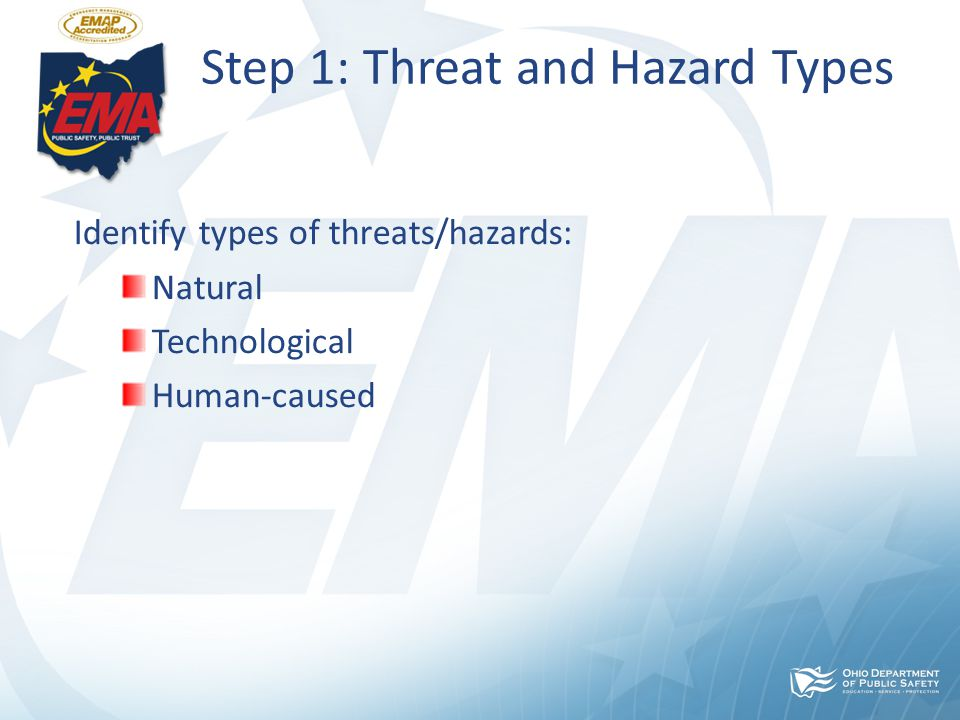 Step 1: Threat and Hazard Types Identify types of threats/hazards: Natural Technological Human-caused