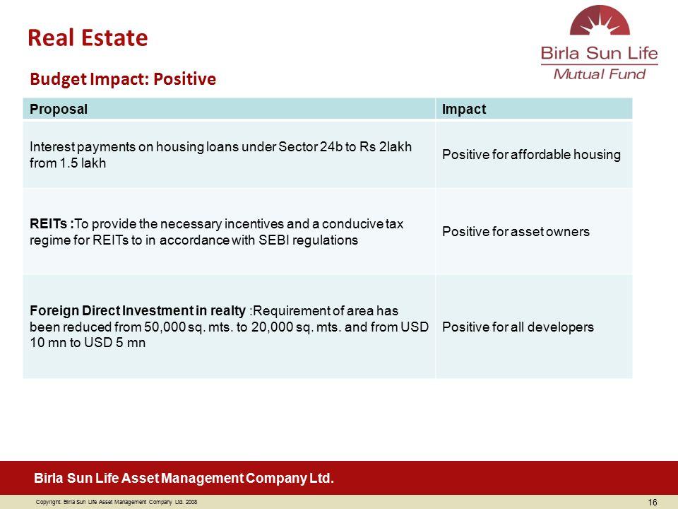 Copyright: Birla Sun Life Asset Management Company Ltd. 2008 Birla Sun Life Asset Management Company Ltd. 16 ProposalImpact Interest payments on housi