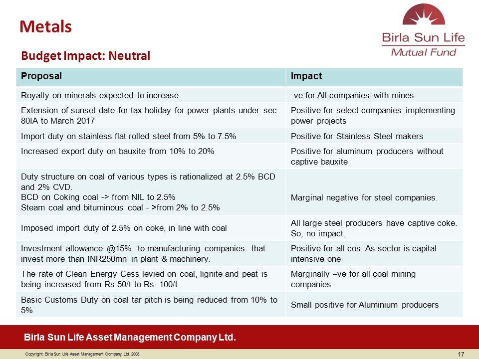 Copyright: Birla Sun Life Asset Management Company Ltd. 2008 Birla Sun Life Asset Management Company Ltd. 17 ProposalImpact Royalty on minerals expect
