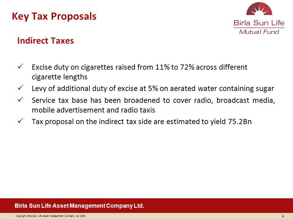 Copyright: Birla Sun Life Asset Management Company Ltd. 2008 Birla Sun Life Asset Management Company Ltd. Indirect Taxes Excise duty on cigarettes rai