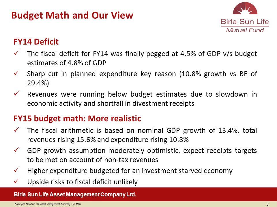 Copyright: Birla Sun Life Asset Management Company Ltd. 2008 Birla Sun Life Asset Management Company Ltd. FY14 Deficit The fiscal deficit for FY14 was