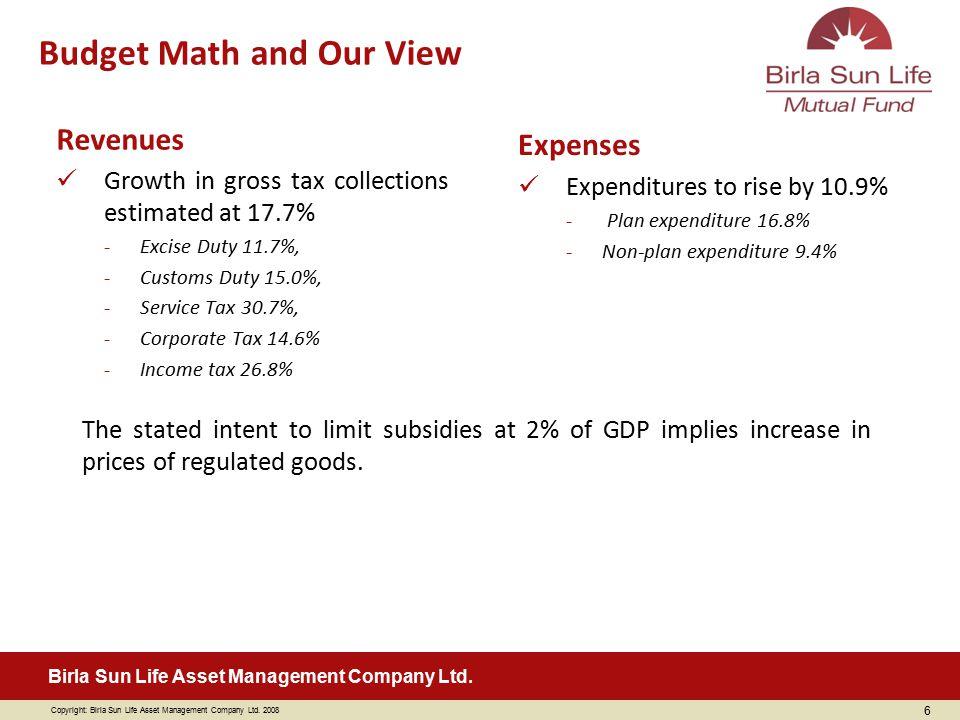 Copyright: Birla Sun Life Asset Management Company Ltd. 2008 Birla Sun Life Asset Management Company Ltd. Revenues Growth in gross tax collections est