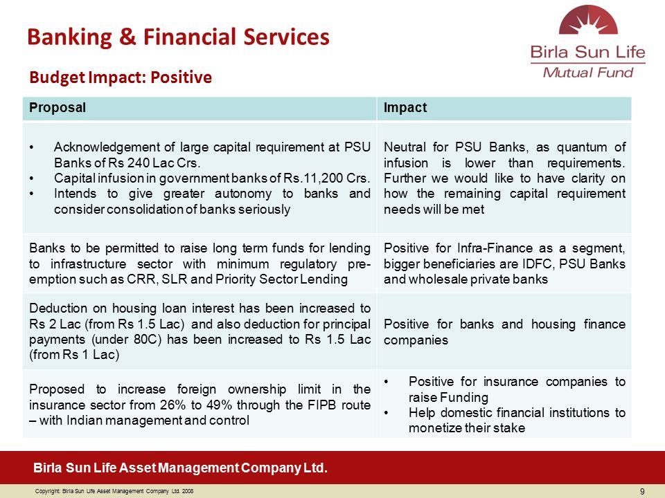 Copyright: Birla Sun Life Asset Management Company Ltd. 2008 Birla Sun Life Asset Management Company Ltd. Budget Impact: Positive ProposalImpact Ackno