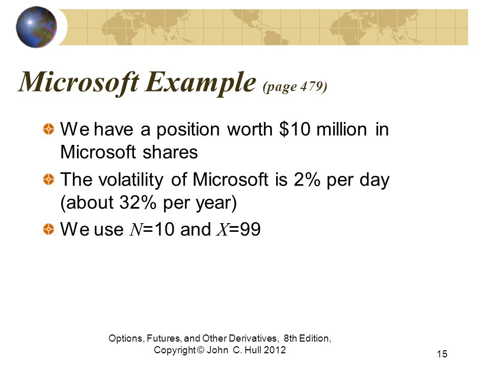Microsoft Example (page 479) We have a position worth $10 million in Microsoft shares The volatility of Microsoft is 2% per day (about 32% per year) W