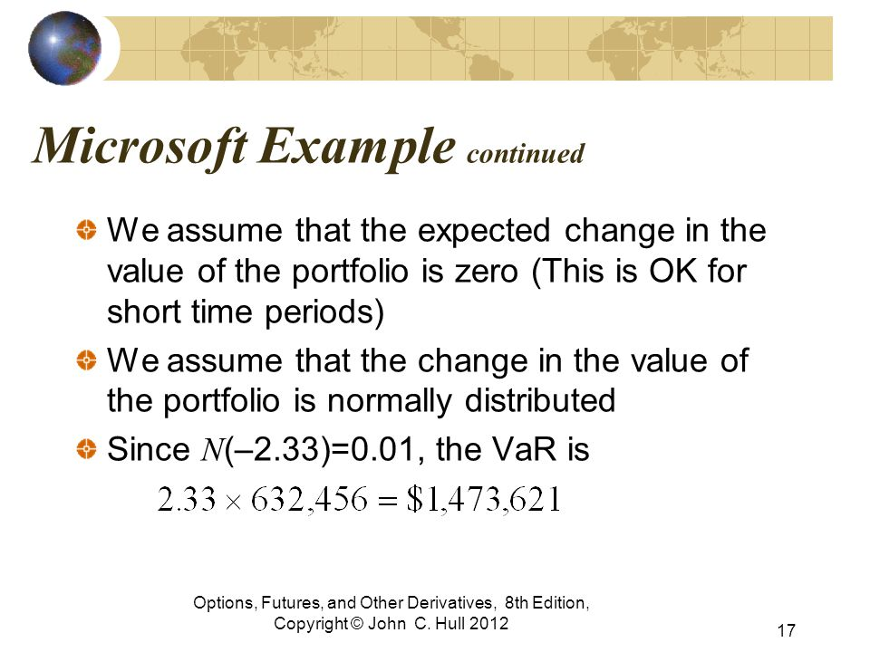 Microsoft Example continued We assume that the expected change in the value of the portfolio is zero (This is OK for short time periods) We assume tha