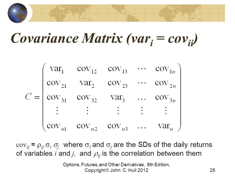 Covariance Matrix (var i = cov ii ) Options, Futures, and Other Derivatives, 8th Edition, Copyright © John C. Hull 201225 cov ij =  ij  i  j wher