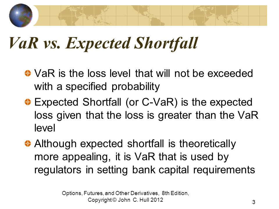 VaR vs. Expected Shortfall VaR is the loss level that will not be exceeded with a specified probability Expected Shortfall (or C-VaR) is the expected