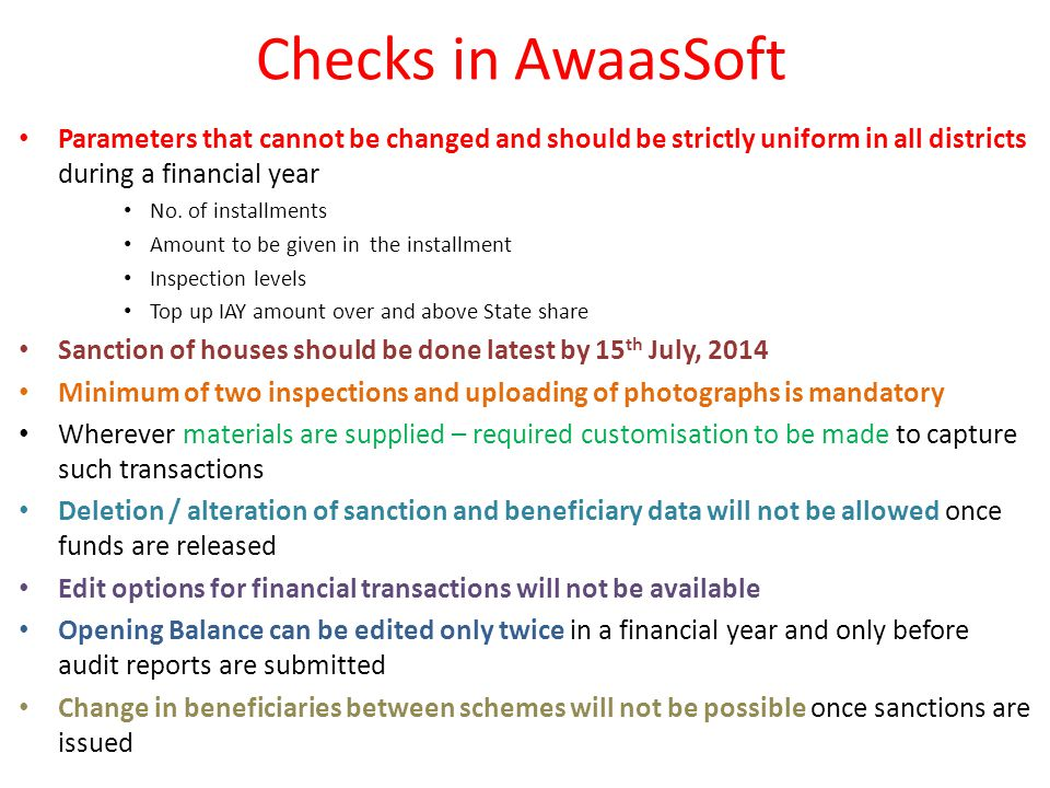 Checks in AwaasSoft Parameters that cannot be changed and should be strictly uniform in all districts during a financial year No.