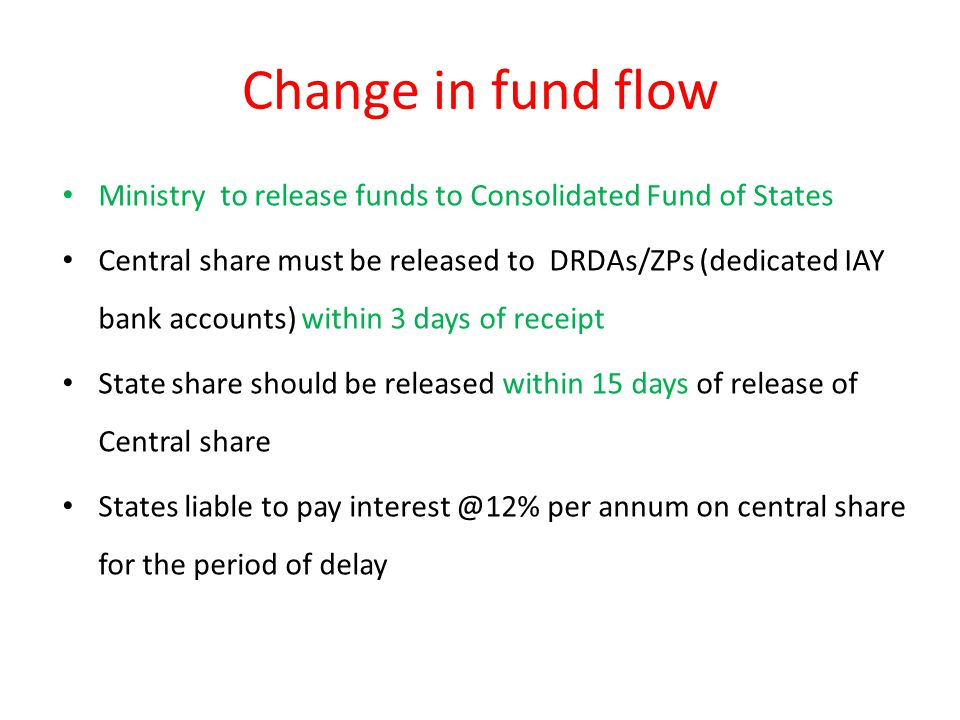 Change in fund flow Ministry to release funds to Consolidated Fund of States Central share must be released to DRDAs/ZPs (dedicated IAY bank accounts) within 3 days of receipt State share should be released within 15 days of release of Central share States liable to pay interest @12% per annum on central share for the period of delay