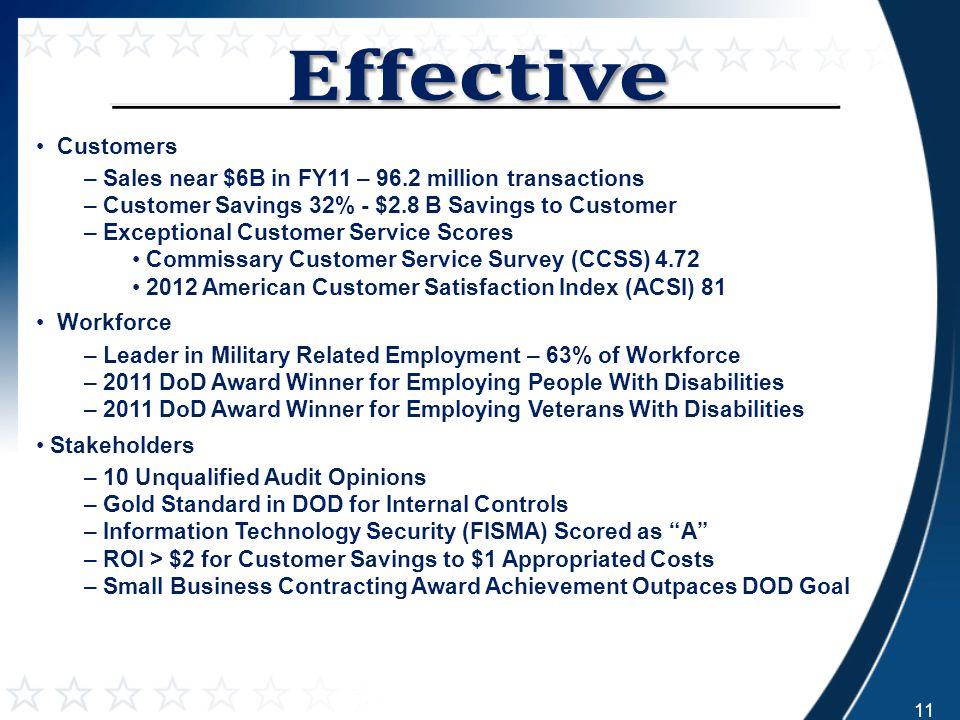 Customers – Sales near $6B in FY11 – 96.2 million transactions – Customer Savings 32% - $2.8 B Savings to Customer – Exceptional Customer Service Scor