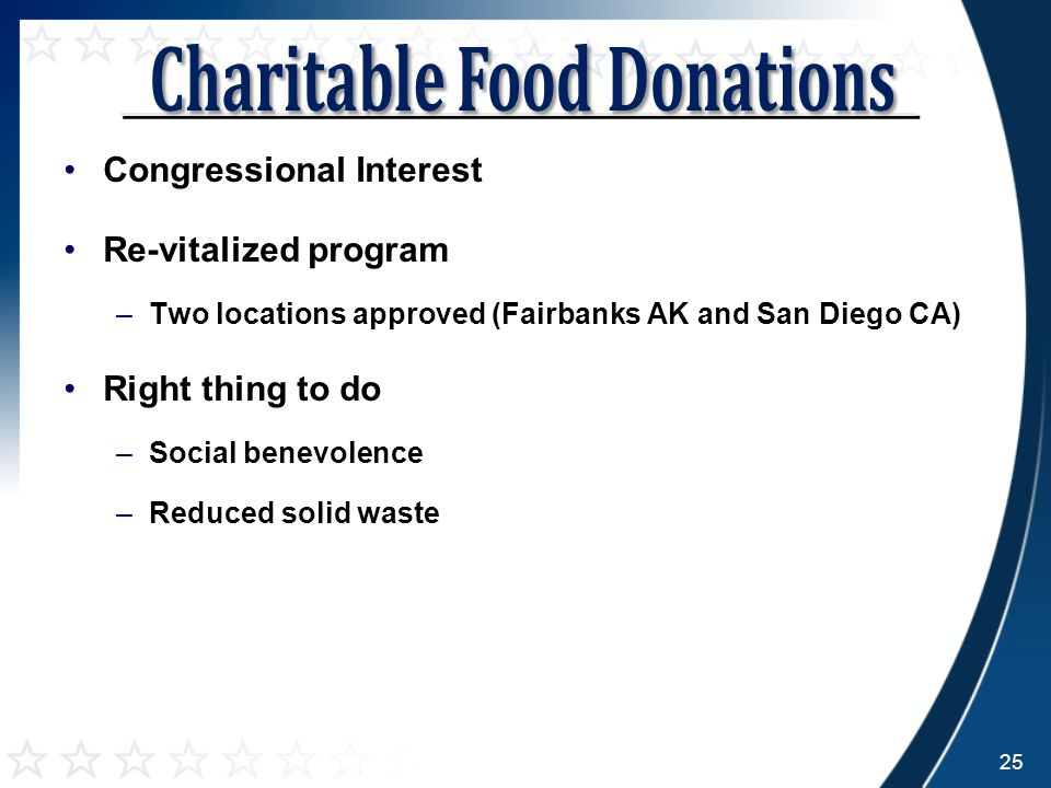 Congressional Interest Re-vitalized program –Two locations approved (Fairbanks AK and San Diego CA) Right thing to do –Social benevolence –Reduced solid waste 25