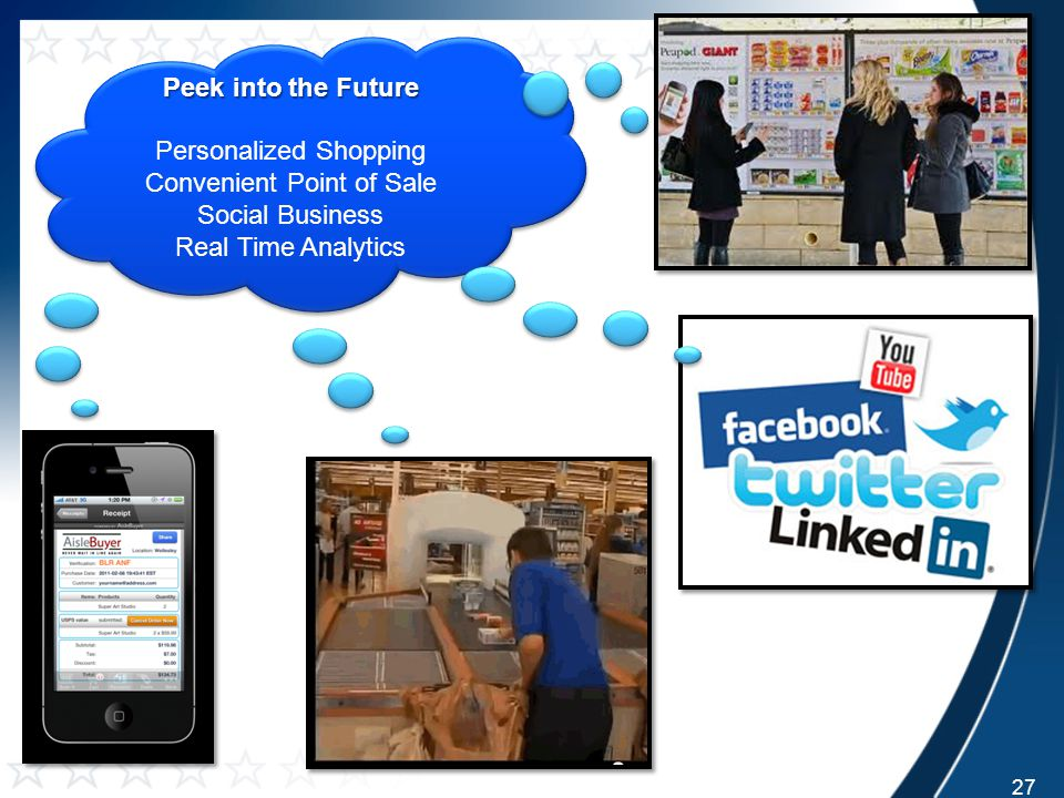 Peek into the Future Personalized Shopping Convenient Point of Sale Social Business Real Time Analytics Peek into the Future Personalized Shopping Convenient Point of Sale Social Business Real Time Analytics 27