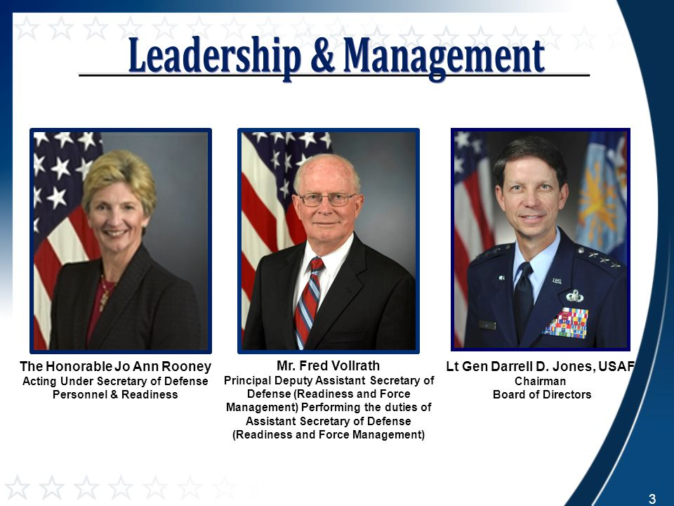The Honorable Jo Ann Rooney Acting Under Secretary of Defense Personnel & Readiness Lt Gen Darrell D. Jones, USAF Chairman Board of Directors Mr. Fred