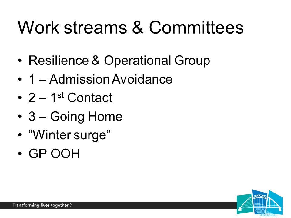 """Work streams & Committees Resilience & Operational Group 1 – Admission Avoidance 2 – 1 st Contact 3 – Going Home """"Winter surge"""" GP OOH"""