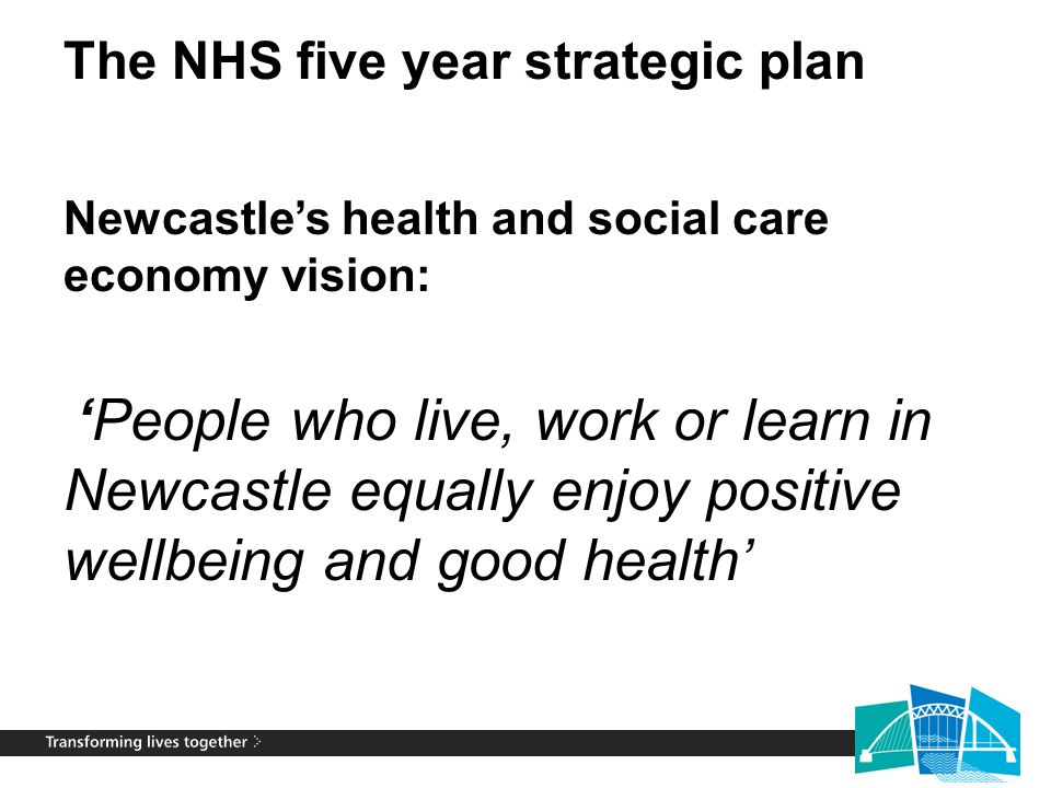 In line with 2013-16 Newcastle Wellbeing for Life Strategy Getting a good start in life… laying the foundation for wellbeing and health throughout life Learning and employability across the life course… all people maximising their capabilities and potential Promoting wellbeing and health across the life course… making wellbeing and health promotion a key dimension of all we do Protecting across the life course… reducing the potential harm from environmental hazards Safeguarding across the life course… reducing potential harm from the action (or inaction) of others Maximising the wellbeing of people who have long term conditions… preventing further progression of an illness and ensuring quality of life