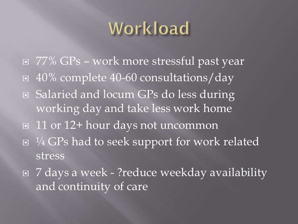  77% GPs – work more stressful past year  40% complete 40-60 consultations/day  Salaried and locum GPs do less during working day and take less wor